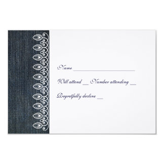 """Denim and Lace rsvp with envelope 3.5"""" X 5"""" Invitation Card"""