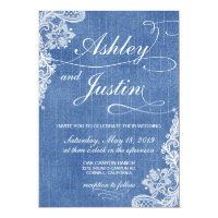 Denim and Lace rustic wedding invitation