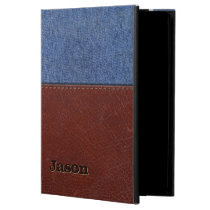 Denim and Leather Cover For iPad Air