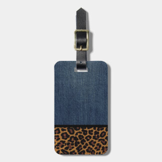 Denim and Leopard Tags For Bags
