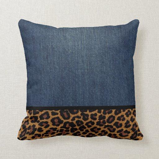 Denim and Leopard Throw Pillow