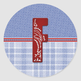 Denim and Plaid Bandana Initial Cards and Postage Classic Round Sticker