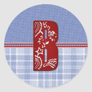 Denim and Plaid Bandana Initial Cards, Postage Classic Round Sticker