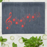 Denim and Red Lace Music Kitchen Towels