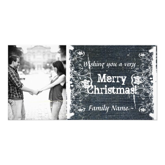 Denim and Shabby Lace Photo Christmas Card