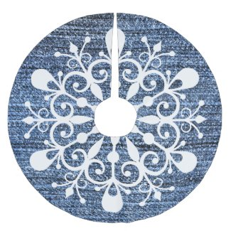 Denim and Snowflake Design Tree Skirt