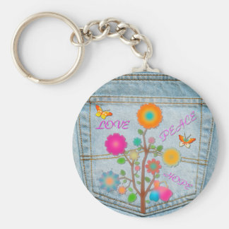 Denim Back Pocket Flowers Peace Love Hope Keychain