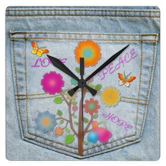 Denim Back Pocket Flowers Peace Love Square Clock