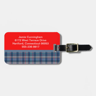 Denim Blue and Red Plaid Luggage Tag