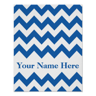Denim Blue Bold Chevron with name Poster