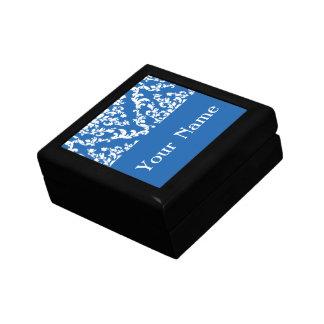Denim Blue Bold Damask w/ name @ Emporiomoffa Keepsake Box