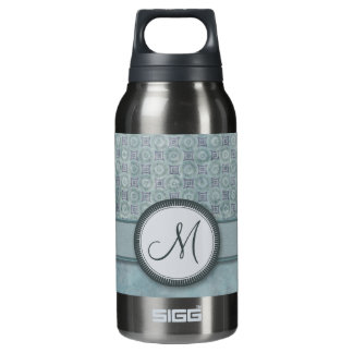 Denim Blue Coin Pattern with Monogram Insulated Water Bottle