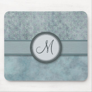 Denim Blue Coin Pattern with Monogram Mouse Pad