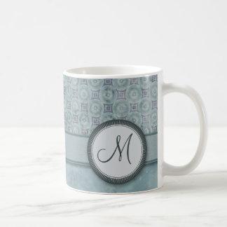 Denim Blue Coin Pattern with Monogram Coffee Mugs