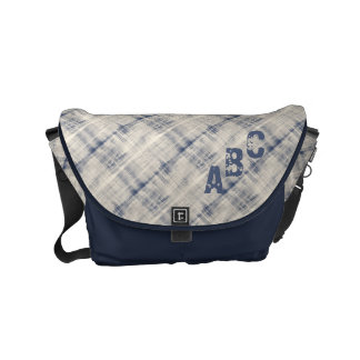 Denim Blue Diagonal Plaid Initialed Small Messenger Bag