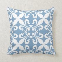 Denim Blue Fleur de Lys Pattern Throw Pillow