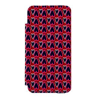 Denim Blue Hearts Pattern iPhone SE/5/5s Wallet Case