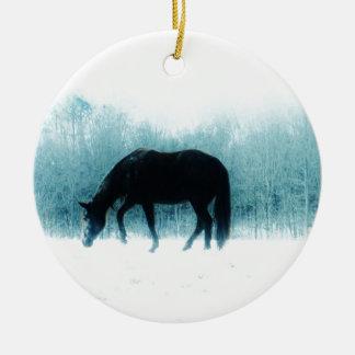 Denim blue horse in the fog ceramic ornament