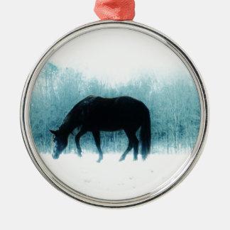 Denim blue horse in the fog metal ornament