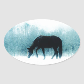 Denim blue horse in the fog oval sticker