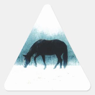 Denim blue horse in the fog triangle sticker