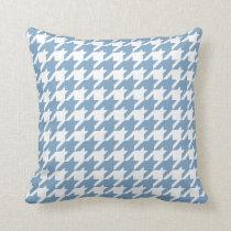 Denim Blue Houndstooth Pattern Throw Pillow