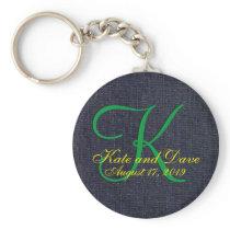 Denim Blue Jean 3d Monogram Keychain