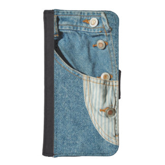 Denim Blue Jean Pocket Wallet Phone Case For iPhone SE/5/5s