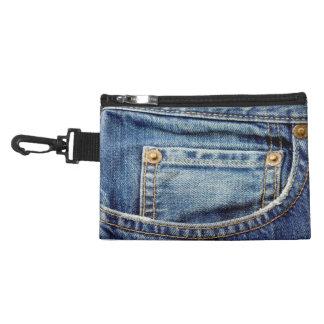 Denim blue jeans pocket clip-on accessory bag
