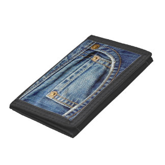 Denim blue jeans tatty old pocket wallet