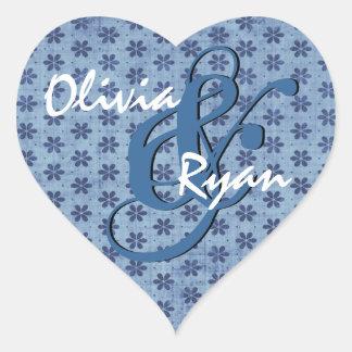 Denim Blue Little Flowers Wedding Heart Sticker