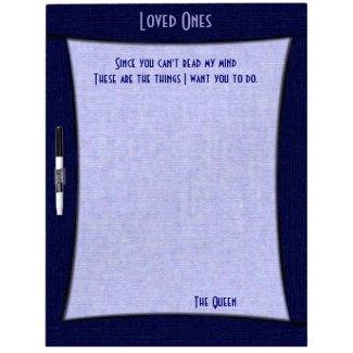 Denim Blue Loved Ones Board w Pen Dry Erase Whiteboards