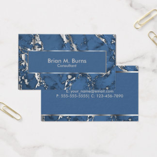 Denim Blue Marble and Metallic Silver Design Business Card