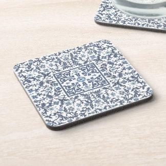 Denim Blue Ornate Design Coaster