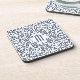 Denim Blue Ornate Monogram Drink Coaster