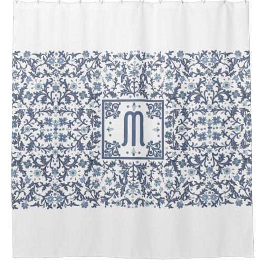 Denim Blue Ornate Monogram Shower Curtain