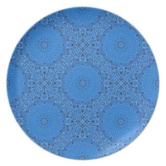 Denim Blue Paisley Western Bandana Scarf Fabric Melamine Plate