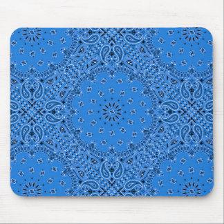 Denim Blue Paisley Western Bandana Scarf Print Mouse Pad