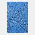 Denim Blue Paisley Western Bandana Scarf Print Towel