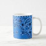 Denim Blue Paisley Western Bandana Scarf Your Name Classic White Coffee Mug