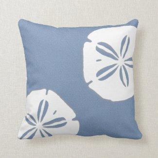 Denim Blue Sand Dollars Nautical Pillow