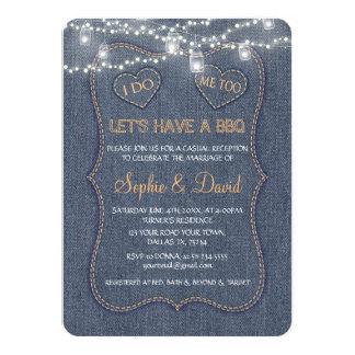Denim Blue String Lights I DO BBQ Card