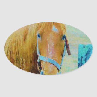 Denim blue tinted Horse Oval Stickers