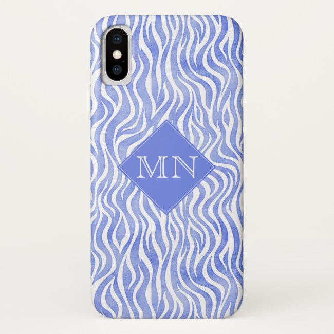 Denim Blue Watercolor Zebra Pattern | Monogram