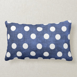 Denim Blue with White Polka Dots Lumbar Pillow
