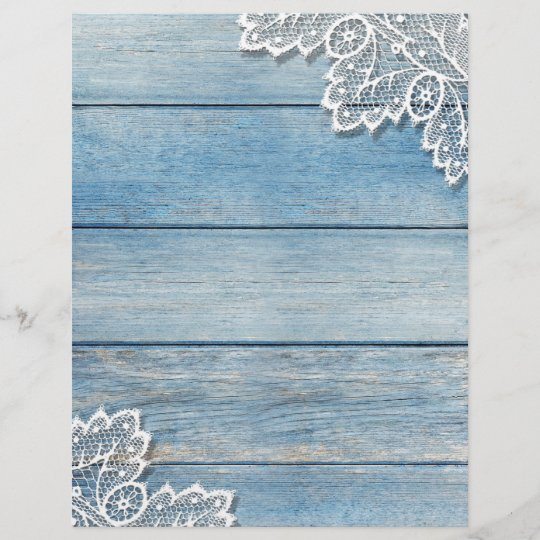 Denim Blue Wood Grain White Lace Scrapbook Paper