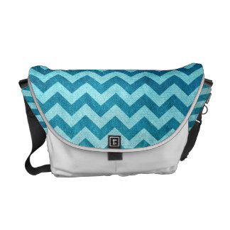 Denim Chevron by Shirley Taylor Messenger Bag