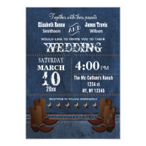 Denim Cowboy boots Stars Western wedding invite