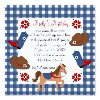 """Denim Cowgirl Birthday 5.25"""" Square Invitation Card"""