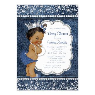 Denim Diamond African American Girl Baby Shower Card